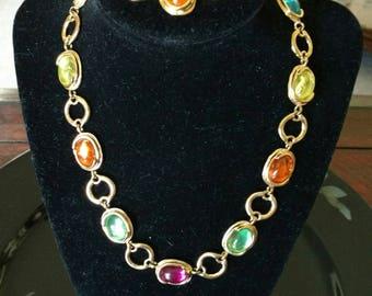 Vintage Gold Tone Multicolored Necklace and Bracelet Set