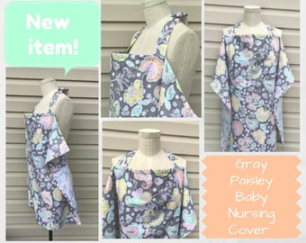 Gray, Coral Mint , Green, Pink  and Gray Paisley Baby Large Nursing Cover/Baby Shower Gift