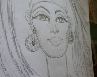 Framed Rough Pencil Sketch, Goddess Nefertiti,Egyptian