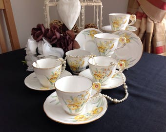 Stunning set of six flower handled duos. Royal Stafford . Bone china. Daffodils.