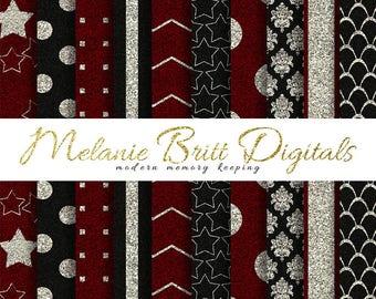 RED and BLACK GLITTER digital paper pack, glitter stripes, glitter dots, glitter damask, glitter chevron, scrapbook paper, instant download