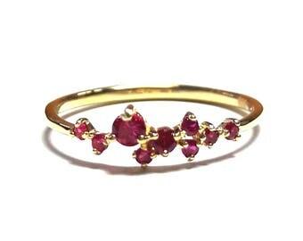 Dainty Ruby Ring-Gold Ring-Ruby Ring-925K Silver Handmade Zirconia Ruby Ring