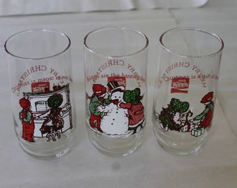 Three of Four a set of Three Coca Cola Merry Christmas Tumblers, Limited Edition 1978, Girl and Boy in Several Situations Involving Holidays