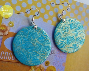 Blue and gold polymer earrings