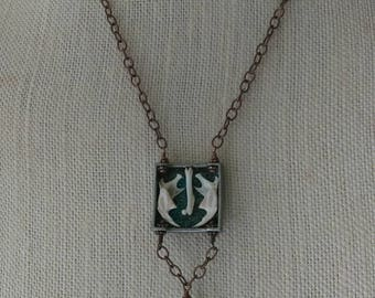 """Mixed Media Reversible Necklace, """"See You on the Other Side"""""""