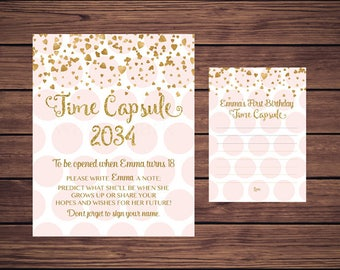 Time Capsule Sign and Card, First Birthday Time Capsule, Baby's Time Capsule Pink and Gold PDF Printable 768