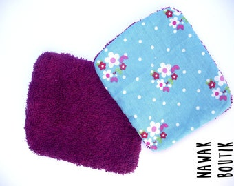 Set of 2 wipes - cotton / Terry - flowers