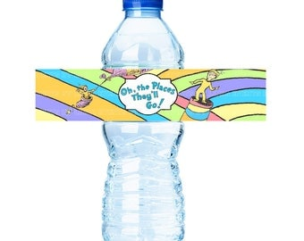 Oh the Places They'll Go - Water Bottle Label (printable) - Digital File