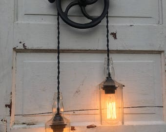 Well pulley whiskey bottle pendant light