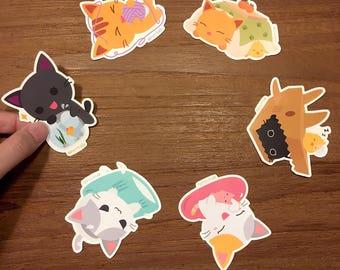 Purrballs Handmade Cat Playtime Vinyl Stickers Set