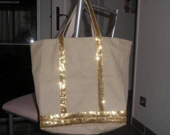 style tote bag vanessa bruno beige / glitter gold sequins