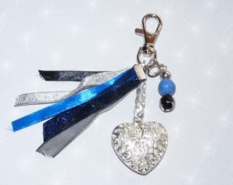 Jewelry bag/Keychain with heart, ribbons, beads blue/black/silver tones