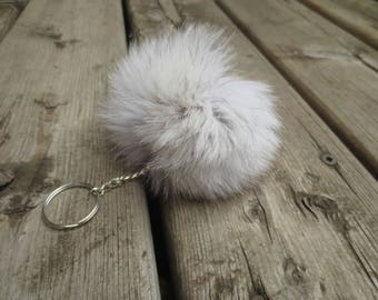 Recycled fur POMPOM keychain - Silver FOX - Authentic fur from recycled garments