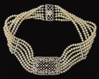 Antique 18k White Gold Diamond Pearl 5 Strand Choker Necklace