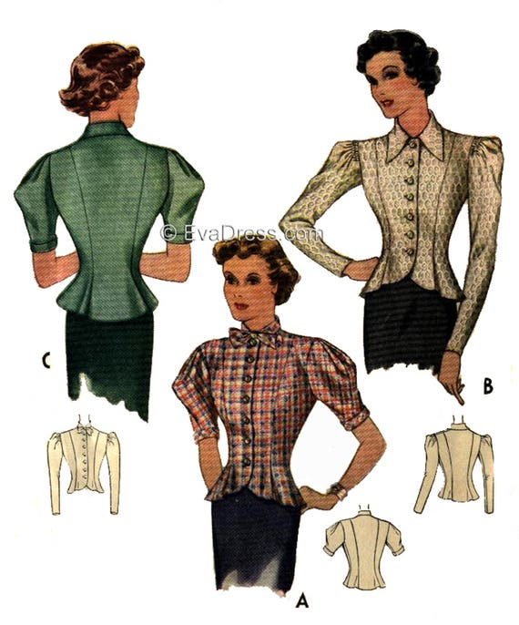 1930s Sewing Patterns- Dresses, Pants, Tops 1937 Blouse by EvaDress! $15.00 AT vintagedancer.com