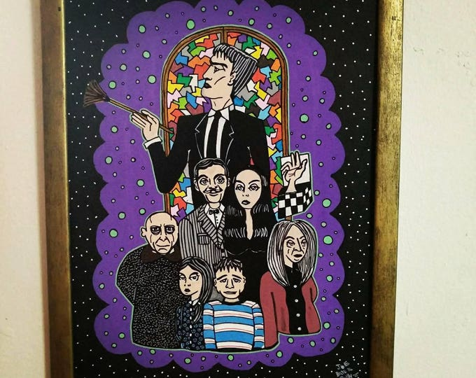 Featured listing image: Creepy Family Frame. The Addams Family Tribute