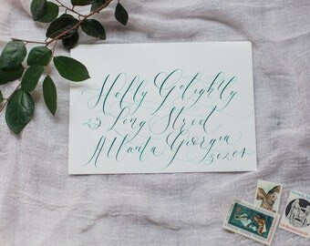 Wedding or Event envelope calligraphy, Holly script
