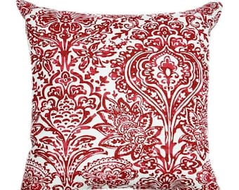 SALE Red Floral Pillow Cover - Shiloh Carmine Red Throw Pillow - Red Decorative Pillow - Floral Accent Pillow - Red Throw Pillow Cover