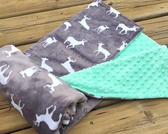 Minky Baby Blanket  - Baby Blanket, Crib Blanket,