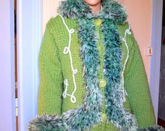 hand trimmed faux fur coat 3/4 knitted