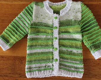 hand knit dress, long, green & white Cardigan, knitted