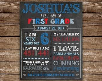 First Day of School Chalkboard poster for Boy, PRINTABLE First Day of School Sign, First Grade, Preschool, Kindergarten