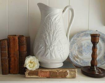 Antique Parian Ware jug, vintage jug, antique vase, vintage vase