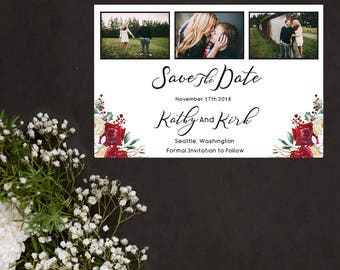 Red Rose Floral Save the Date.