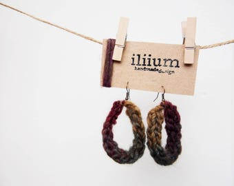 women's earrings handmade bronze colour nickel free, hook, other colours available to order, 100% wool or mixed