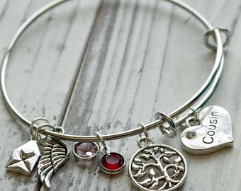 Cousin Personalized Hand Stamped Adjustable Wire Bangle Bracelet