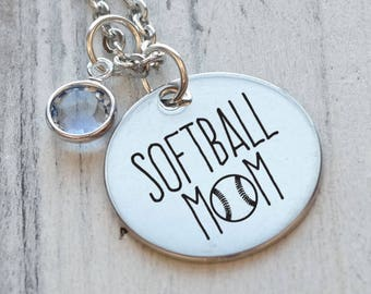 Softball Mom Personalized Engraved Necklace