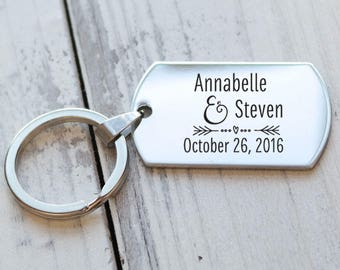 Happy Couple Personalized Engraved Key Chain