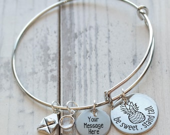 Be Sweet Stand Tall Pineapple Personalized Wire Adjustable Bangle Bracelet