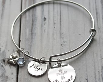 Goddaughter Personalized Wire Adjustable Bangle Bracelet