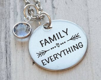 Family Over Everything Personalized Engraved Necklace