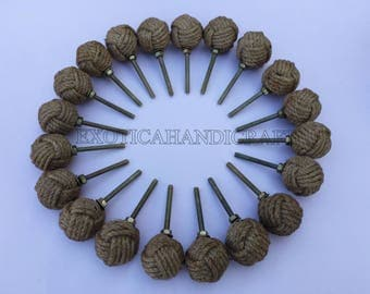 Lot of 50pcs Jute Rope Door Knobs-Nautical Beach Seaside Home Decor Rope Knot Drawer Pulls