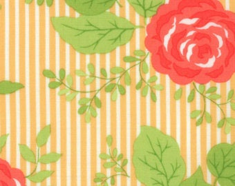 Happy Go Lucky Orange Floral Stripe by Bonnie & Camille for Moda Fat Quarter/Yardage OOP HTF