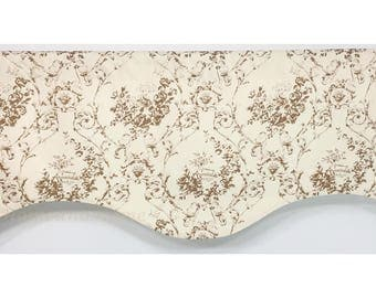 Scalloped Valance. Extra wide valance. Wide valance. window valances. French Garden Toile valance. Chocolate Natural lined valance