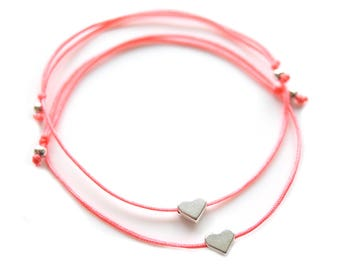 Friendship Bracelets Hearts silver in your wish color!