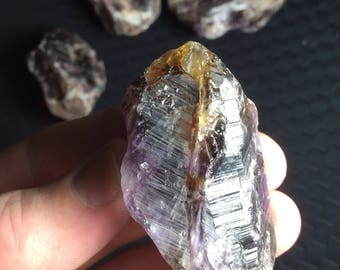 Super Seven Melody Stone Crystals with Citrine; Espírito Santo, Brazil! Parcel of 4 Crystals, Cabbing/Collectors/Jewelry! 235.4g. Total!