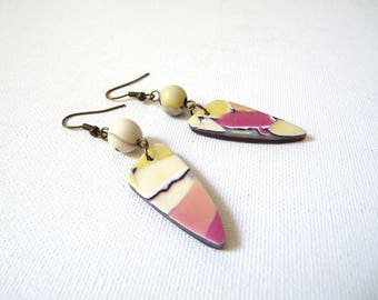 Ethnic earrings, mosaic, yellow pearls bordeaux, water color mosaic