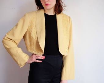 pale yellow blazer jacket cropped S M 36 38 40