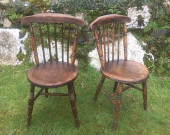 Pair of Victorian kitchen chairs