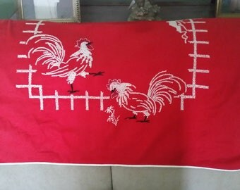 Rooster Table Runner, Couch Runner. Small Tablecloth