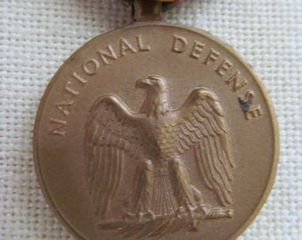Vintage National Defense Medal / Ribbon