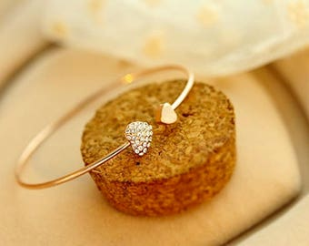 Heart crystal bracelet/Love bracelet/Opening gold bracelet/Rhinestone bracelets/Women's bangles/Silver hearth bracelet