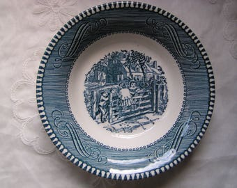 """Royal China Currier & Ives Fruit Dish """"Old Farm Gate"""" in Blue"""