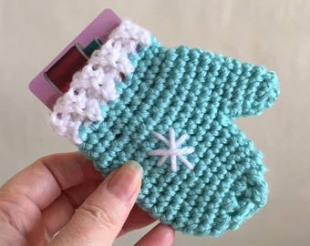 Crochet Mitten Gift Card Holder Handmade Gift Card Cozy All Occasion Gift Card Sleeve Robins Egg Blue Made to Order