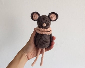 Ecofriendly organic cotton amigurumi mouse doll