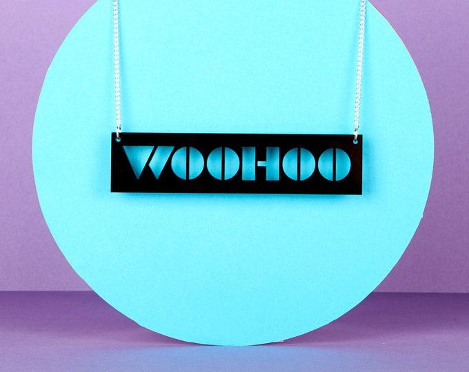 WOOHOO Typographic black acrylic statement necklace